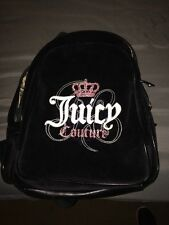 Black Velvet Material Juicy Couture Backpack Purse Bag School