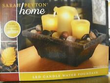 New Sarah Peyton Flameless LED Candle Water Fountain Relaxing Ambiance