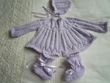 BABY MATINEE COAT CARDIGAN BONNET AND BOOTEES, HAND KNIT NEW PALE LILAC