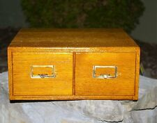 Antique OAK 2 DRAWER CARD FILE BRASS PULLS LABEL HOLDERS Library Catalog Index