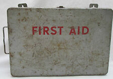 Vintage First Aid Kit Metal Wall Mount Case Loaded with Supplies USA Scissors