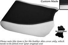 BLACK & WHITE CUSTOM FITS SUZUKI 350 GOOSE FRONT SLIP ON LEATHER SEAT COVER