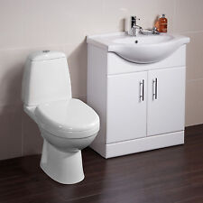 Toilet Basin Sink Vanity Unit Bathroom Cabinet Furniture Drawer Two Piece Suite