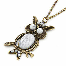 Retro Vintage Egg Shell Owl Pendant Long Necklace UK Seller