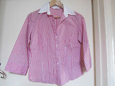 Pink Stripe 3/4 Sleeve Shirt / Blouse / Top by M&S in Size 8