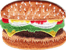 HAMBURGER & BUN/ Iron On Embroidered Applique/Food, Picnic, Barbecue, Fast Food