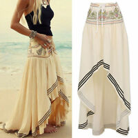 Gypsy Boho Tribal Floral Skirt Maxi Summer Beach Long Casual Skirt Dress Apricot