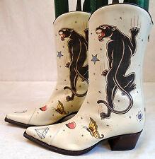 HELENA ANGELIQUE Stiefel Cowboystiefel beige weiß Gr. 39 Leder Western-Boots