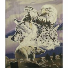 5 Animals Bear Eagle Hawk Wolf Bobcat 50x60 Polar Fleece Throw Blanket