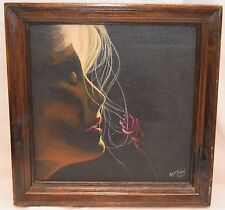 """Original Oil Painting WOMAN SMELLING ROSE Framed 12x12"""" 1997 Wendy May MN Artist"""