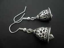 A PAIR OF PRETTY TIBETAN SILVER DANGLY BELL THEMED  EARRINGS. NEW.