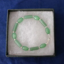 """Beautiful Bracelet With Oval And Rectangular Jade Gemstone 8"""" Inches.Long In Box"""