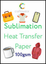 100 Pack A4 Sublimation Heat Transfer Paper Mug Press Shirt Printing Ink Sheets