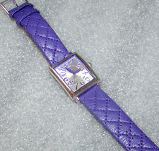Judith Ripka Stainless Steel Quilted Leather Tank Watch Purple  New