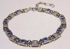 Art Deco Vintage Sterling Silver Blue & Clear Paste Stone Glass Tennis Bracelet