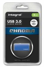 Integral 8GB CHROMA USB 3.0 Capless Flash Drive in Blue. INFD8GBCHR3.0BL