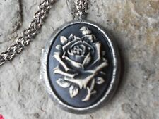 BLACK PAINTED ROSE CAMEO ANTIQUED SILVER PLATED LOCKET -VINTAGE, GOTH, WICCAN
