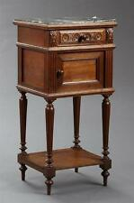 French Louis Philippe Style Carved Oak Marble Top Nightstand, late 1... Lot 2525