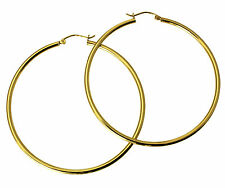 14K Yellow Gold 2mm Thickness Classic Polished Extra Large Hinged Hoop Earrings