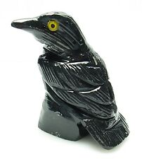 CARVED - BLACK ONYX RAVEN (Crow) Spirit Animal Totem w/Card- Healing Reiki Stone