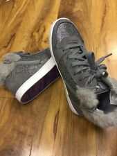 Clarks Girls Grey Synthetic Fabric with Glittery Silver Panel Boots Size 2F  NEW