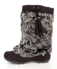 Womens Moccasin Mukluk Flat Boots Faux Fur Suede Tassel Mid Calf Shearling 8