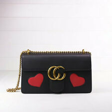 Genuine Leather red heart and lips teeth Lady Chain Shoulder Bag