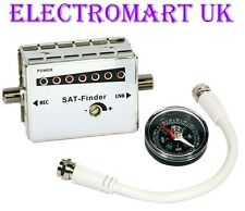 LED SATELLITE SIGNAL FINDER DISH ALIGNMENT METER + PATCH CABLE