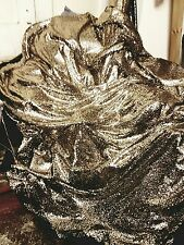 "1M BLACK /Gold TULE  FULLY  SEQUINED  SMALL SEQUIN BRIDLE DRESS FABRIC 58"" WIDE"