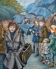 """Original Painting """"The Umbrellas"""" by Kathryn Edwards - Welsh Artist"""