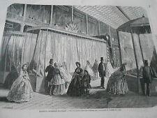 Gravure 1862 Vue des quatre grandes vitrine fabricants de soieries de Lyon