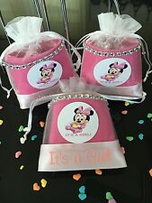 12 Fillable Pouches Baby Minnie Mouse It's a Girl Baby Shower Favors Party Decor