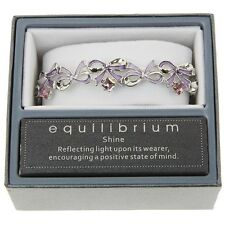 ORNATE PURPLE BOW SILVER PLATED BANGLE BRACELET BOXED BY EQUILIBRIUM
