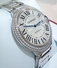 CARTIER 18K White Gold Ballon Bleu XL 42mm Factory Diamond Bezel WE9009Z3 *NEW*