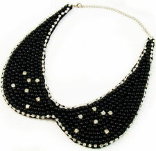 COLLAR NECKLACE handmade WOMEN BLACK pearl fashion choker rhinestone crystals
