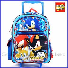 "Sonic The Hedgehog 16"" Large School Rolling Backpack Book bag"