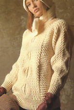 "Ladies Aran Sweater Knitting Pattern Diamonds & Cables 30-44""  650"