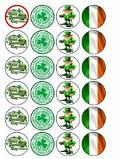 """24 x St Patrick's Day Mix 1.5"""" PRE-CUT PREMIUM RICE PAPER Edible Cake Toppers"""