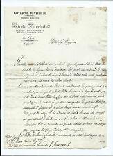 Lettera da Massa Lombarda Lavori Manutenzione Strada dopo Inverno Gelido 1844