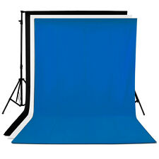 Neewer 3PCS 6x9FT Photography Muslin Backdrops(White & Black & Blue )
