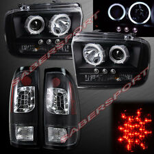 05-07 FORD F250 F350 CCFL HALO PROJECTOR HEADLIGHTS w/ LED + BLACK TAIL LIGHTS