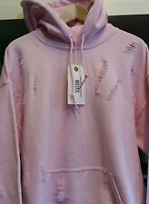 Distressed ripped baby pink hoodie by 9DEUCE sweat hooded sweatshirt XL