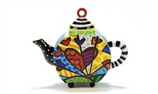 "ROMERO BRITTO ""DECORATIVE"" MINI TEAPOT FIGURINE- A NEW DAY HEARTS DESIGN"