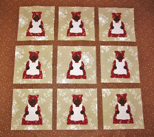 "Set of  9  Adorable Aunt Jemima  in Red Dress  6"" x 6"" Quilt Blocks"
