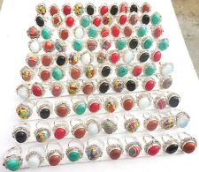 100PCS WHOLESALE LOT! 925 STERLING SILVER OVERLAY HOT SALE GEMSTONE RING