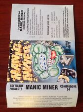 Manic Miner. Commodore 64. Instructions Only. No Game