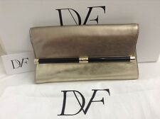 DVF DIANE VON FURSTENBERG 440 ENVELOPE TINSEL LIGHT GOLD PEWTER CLUTCH BAG