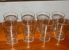 Lot de 8 verres à rayures rouge et or 9.5 cm ANCIEN VINTAGE 60's 70's #MH