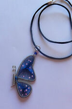 Necklace & Pendant -thread Peruvian -Butterfly Wing -blue-pink  beads