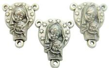 MRT Lot 3 Madonna & Child Miraculous Centerpiece Silver Plate Rosary Part 3/4""